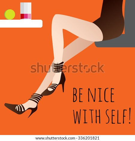 Long legged girl sitting at the table and drink  juice concept poster - stock vector