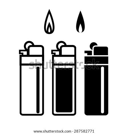 Long Lighters icon in linear and silhouette style  - stock vector