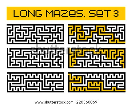 long mazes set 3 - stock vector