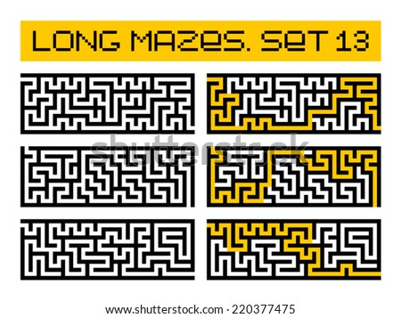 long mazes set 13 - stock vector
