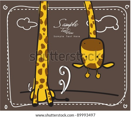Long neck giraffe greeting card - stock vector