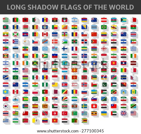 long shadow flags of the world