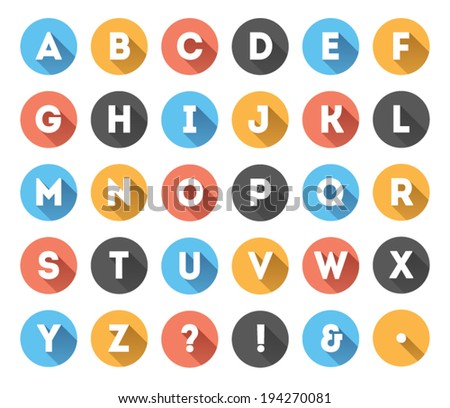 Long shadow flat icons alphabet - stock vector