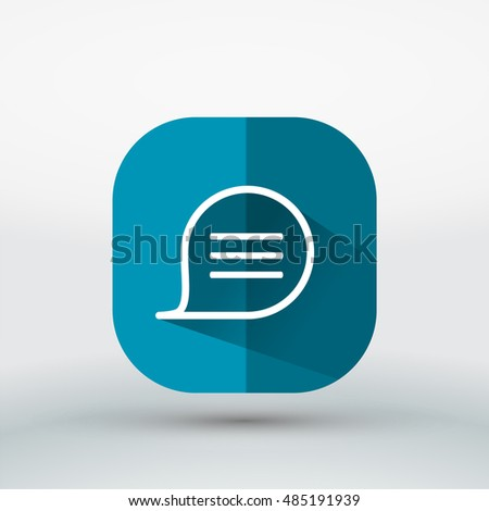 Long shadow Message bubble,sms, chat icon ,flat app icon