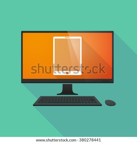 Long shadow personal computer with a tablet computer - stock vector