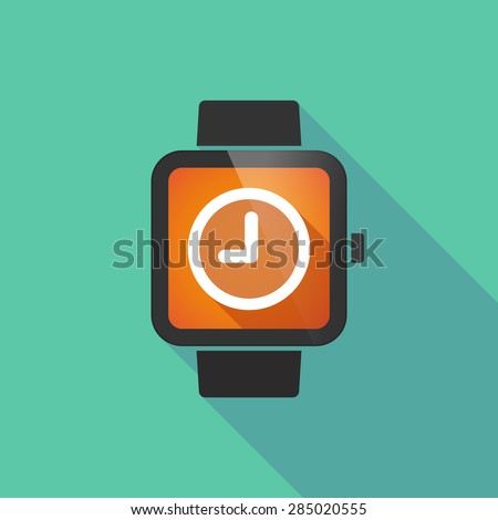 Long shadow smart watch with a clock - stock vector