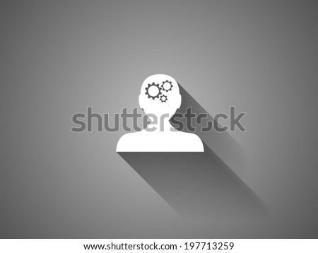 long shadow Thinking icon - stock vector