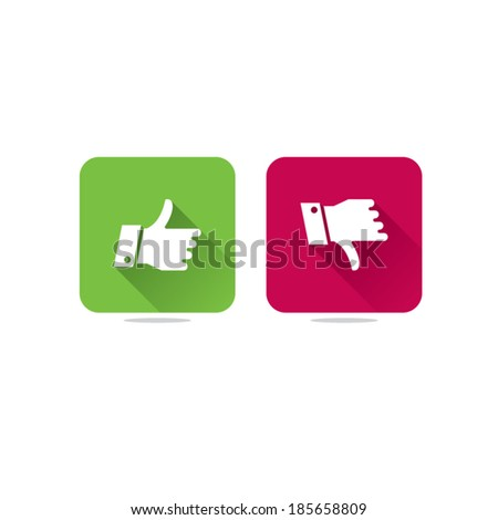 Long Shadow Thumbs Up and Thumbs Down Icons - stock vector