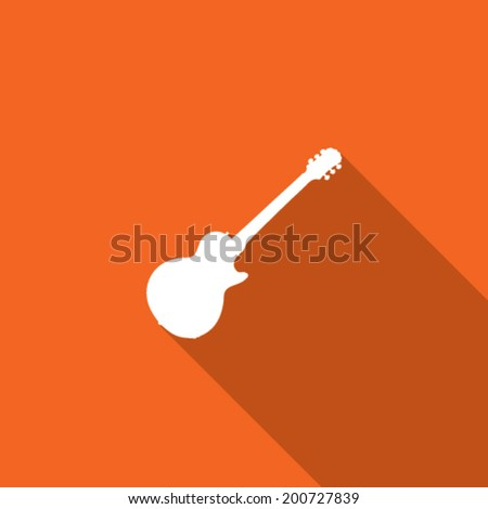 Long Shadow with the shape of a Guitar - stock vector