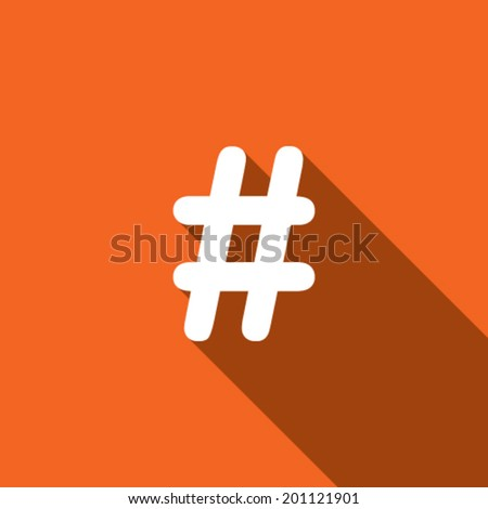 Long Shadow with the shape of a Hashtag - stock vector