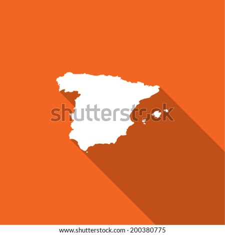Long Shadow with the shape of the Country of Spain - stock vector