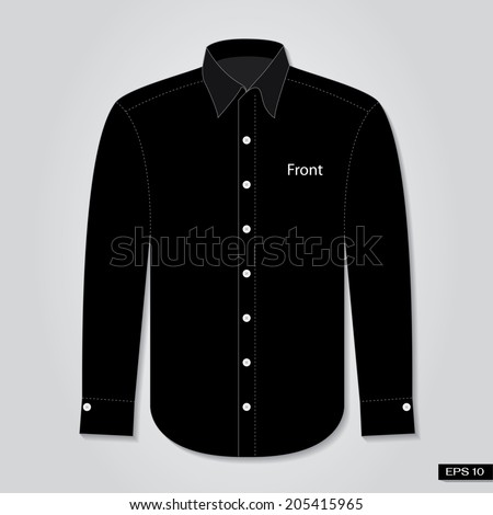 Long sleeve black shirt front. Vector - stock vector