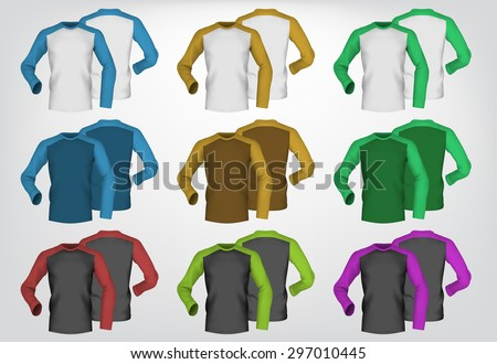 Long sleeve blank two colored t-shirt template. - stock vector