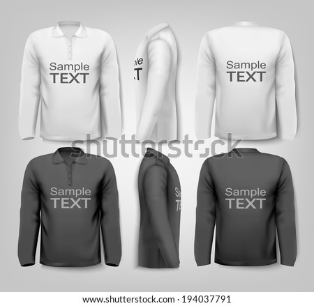 Long sleeved shirts with sample text space. Vector. - stock vector
