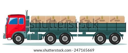 Long truck picked products from the factory to the warehouse and rides - stock vector