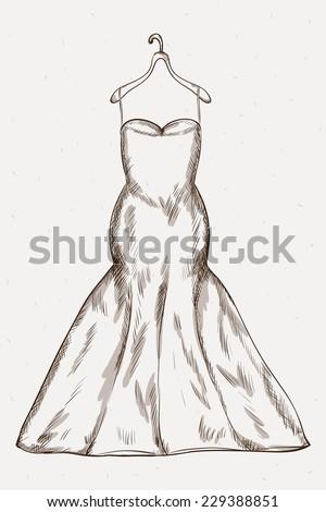 Long Wedding Dress Vector Sketch