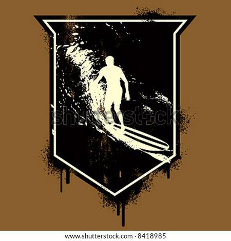 longboard grunge emblem - stock vector