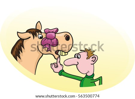 Look gift horse mouth stock vector 563500774 shutterstock look a gift horse in the mouth negle Choice Image