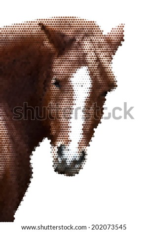 Look back of a grace red horse with white stripe on the face, isolated on white background. Beautiful mare, looking straight into the camera. Unusually amazing vector image, made of large dots. - stock vector