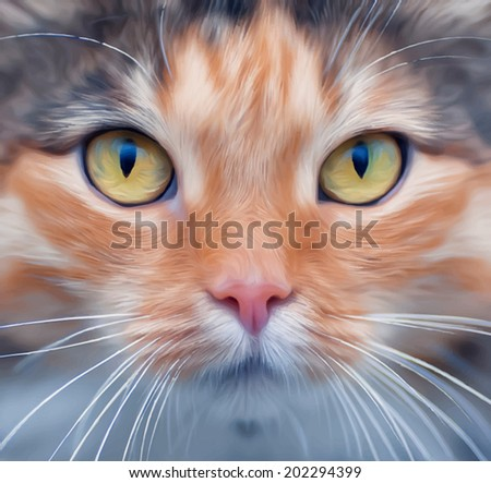 Look into your soul of an extremely beautiful cat female. Eye contact through the lens with widely open feline pupils with bright yellow iris. Unusual vector image in oil painting style. - stock vector