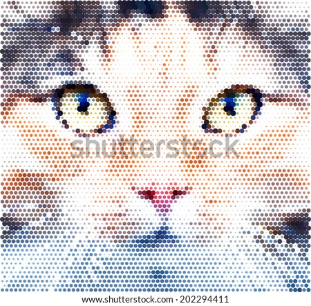 Look into your soul of an extremely beautiful cat female. Eye contact through the lens with widely open feline pupils with bright yellow iris. Unusual and amazing vector image, made of the big dots. - stock vector