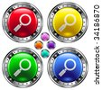 Look or magnifying glass icon on round colorful vector buttons suitable for use on websites, in print materials or in advertisements.  Set include red, yellow, green, and blue versions. - stock vector