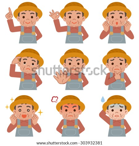 Look set uncle working in farmer - stock vector