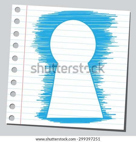 Look through key hole - stock vector
