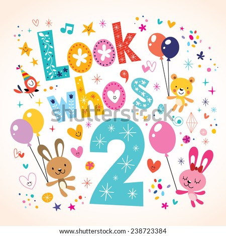 Look Whos Two Second Birthday Card Vector 238723384 – 2nd Birthday Cards