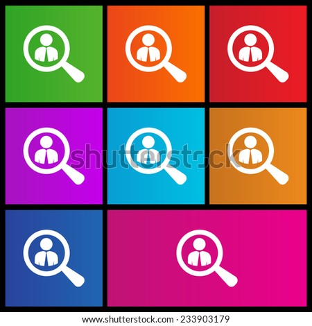 Looking For An Employee. Looking For Talent. Search for businessman. Flat icon design. Metro style - stock vector