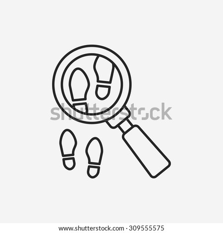 Looking for clues line icon - stock vector