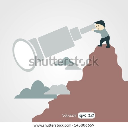 Looking Through Hand-Held Telescope. - stock vector