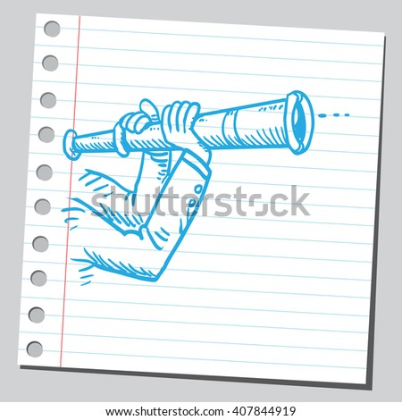 Looking through spyglass - stock vector