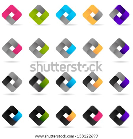Loop Icons - Set - Isolated On White Background - Vector Illustration, Graphic Design Editable For Your Design. Business Logo  - stock vector