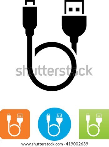 Looping cable with USB and Micro-USB connectors symbol.  - stock vector