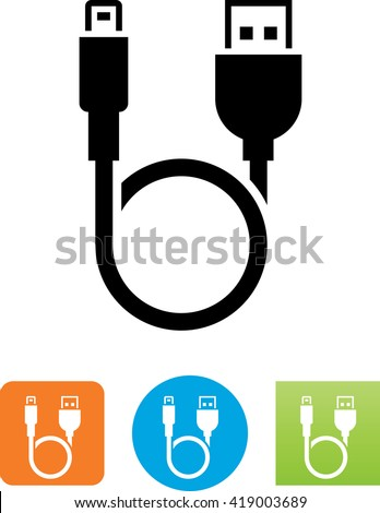 Looping cable with USB and smart phone connectors symbol.  - stock vector