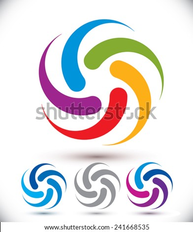 Looping vector abstract symbol, conceptual rotate icon set. - stock vector
