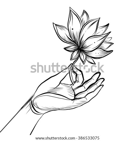 Lord Buddha's hand holding Lotus flower. Isolated vector illustration of Mudra.  Hindu motifs. Tattoo, yoga, spirituality, textiles. Sketchy style, hand drawn. Vintage drawing.  - stock vector