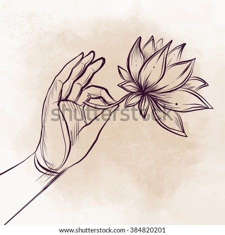Lord Buddhas Hand Holding Lotus Flower Stock Vector 384820201