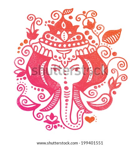 Lord Ganesh Indian god colorful oriental doodle hand drawn illustration in vector - stock vector