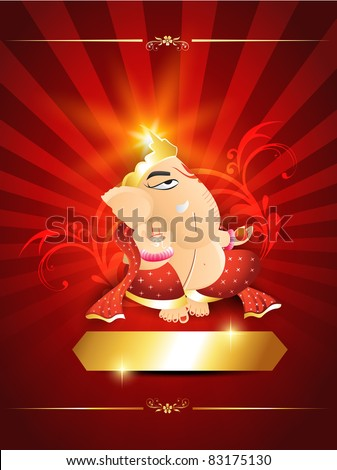 lord ganesh on beautiful artistic red background - stock vector