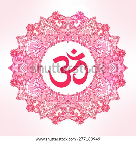 Lord Ganesha & Diwali Om mandala symbol. Round Ornament Pattern. Vintage decorative vector elements isolated. Hand drawn paisley background. Indian, Hindu motifs. Tattoo, yoga, spirituality, textiles. - stock vector