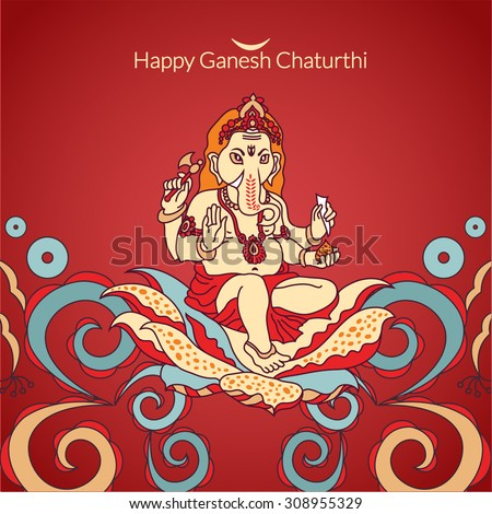 Lord Ganesha for Ganesh Chaturthi. Indian, Hindu motifs. Tattoo, yoga, spirituality, textiles. Vector illustration. - stock vector