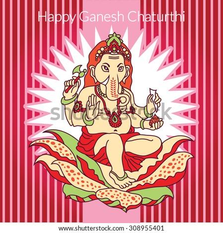 Traditional Indian Elephant Motifs Hindu God Ganesha Stoc...