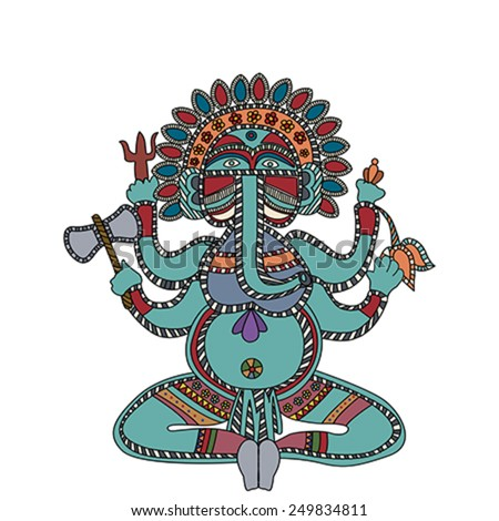 Lord Ganesha over white background - stock vector