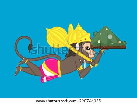 Lord Hanuman Carrying Mountain - stock vector