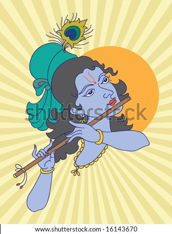 Lord Krishna playing flute - stock vector