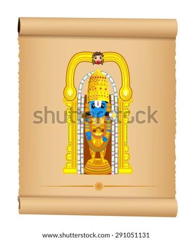 Lord Venkateswara - Indian God - stock vector