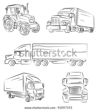 Lorry and truck - stock vector