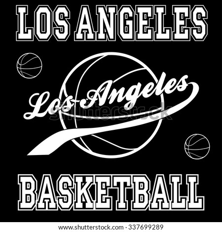 Los angeles basketball typography, t-shirt graphics. Vector illustration